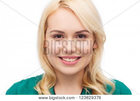 female, gender, portrait and people concept - smiling young woman face