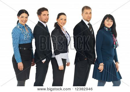 Happy Five Business People In A Line