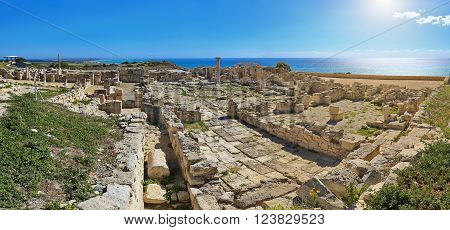 Panoramic view of the ruins of the ancient Greek city Kourion (archaeological site) near Limassol, Cyprus ** Note: Soft Focus at 100%, best at smaller sizes