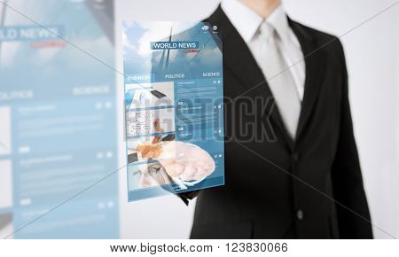 people, business, technology and mass media concept - close up of man hand showing world news projection