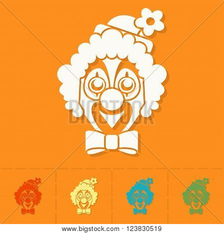 Happy Birthday Icon. Clown Face. Simple, Minimalistic and Flat Style. Colorful Vector