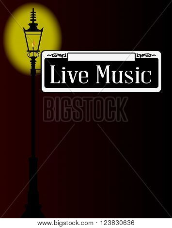Live Music street sign with old gas street light over a dark background