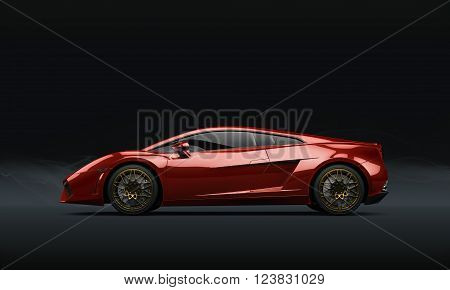 Super sport car on dark background 3D illustration