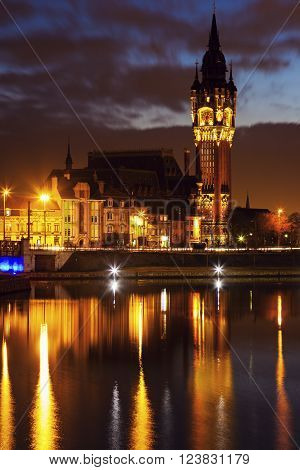 Calais city hall at night. Calais Nord-Pas-de-Calais-Picardy France.