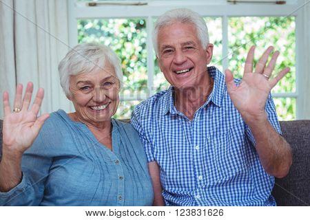 Portrait of happy senior couple waving hand at home
