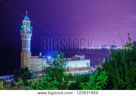 Night view of Al-Bahr (The Sea) Mosque and the Tel-Aviv skyline Jaffa Tel-Aviv Israel