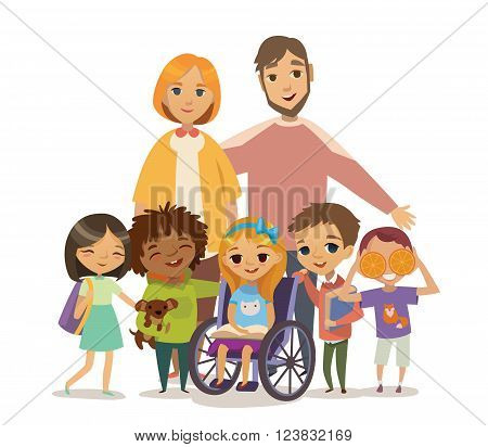 Group of Happy Childdren with books and Tutors. Caring for the disabled child concept. Learning and playing together. Handicapped Kid. Vector. Isolated.