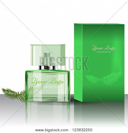 Realistic Perfume Bottle to Use in Beauty, cosmetics, fashion Infographics and Drawings or catalogue. Transparent bottle with box. Illustrated vector