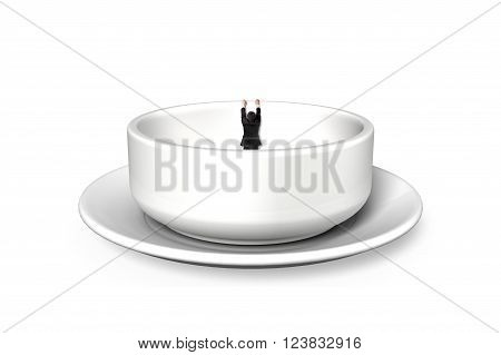 Businessman hanging on edge of empty soup bowl isolated on white background