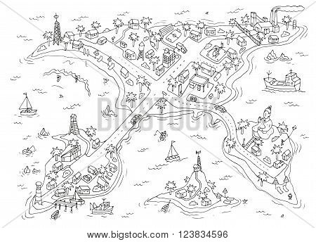 Doodle islands map. Top view of the islands. Isolated.