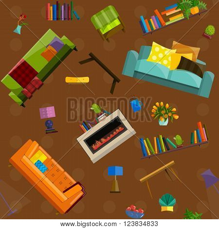 Furniture Shop Super Sale seamless pattern Vector Illustration. Sale in furniture shop. Sale labels on furniture in store. Furniture shop sale. Set furniture for sale. Tag sale on furniture interior