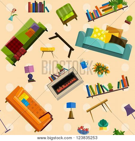 Vector collection of modern flat furniture seamless pattern. Set of furniture design elements. Flat furniture set. Furniture set for living room. Isolated colorful flat furniture seamless pattern