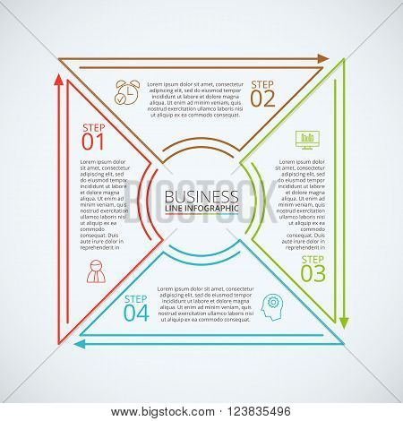 Thin line flat square for infographic. Template for diagram, graph, presentation and chart. Business concept with 4 options, parts, steps or processes. Data visualization.