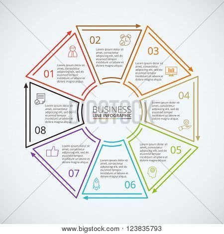 Thin line flat octagon for infographic. Template for diagram, graph, presentation and chart. Business concept with 8 options, parts, steps or processes. Data visualization.