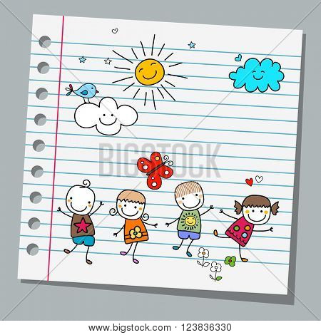 notebook paper happy kids summer day