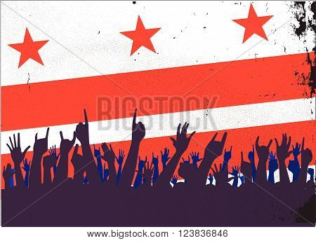 Audience happy reaction with Washington DC flag background