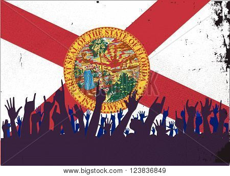 Audience happy reaction with Florida State flag background