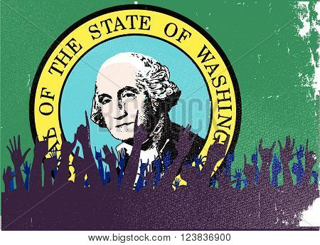 Audience happy reaction with Washington State flag background