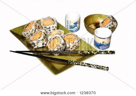 Sushi Plate On White