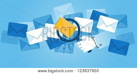 Flat line design website banner of e-mail protection, anti-malware software, e-mail search. Modern vector illustration for web design, marketing and print material.
