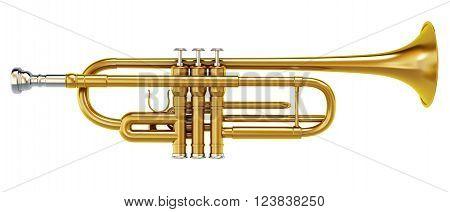 Brass shiny trombone isolated on white background.