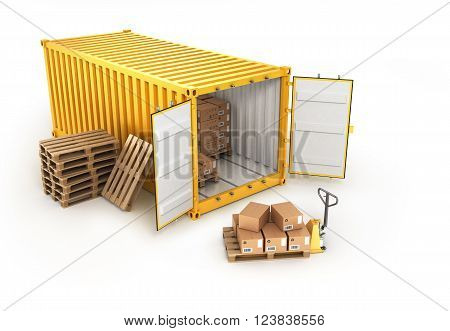 open container pallets with boxes and hand truck isolated on white background