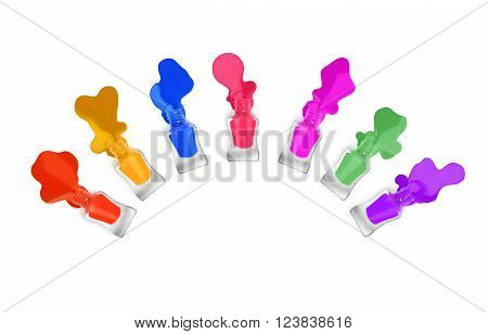 colorful nail polishes on a white background