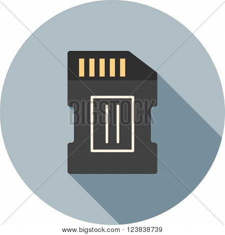 Camera, sd, card icon vector image. Can also be used for photography. Suitable for use on web apps, mobile apps and print media.