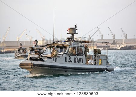 GULF OF ADEN, REPUBLIC OF DJIBOUTI - FEBRUARY 06, 2016: US NAVY inshore security patrolling in port of Djibouti