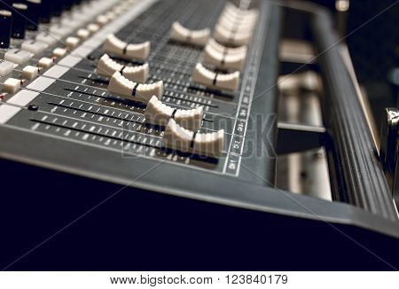 selective focus the  sound mixer control panel board background.