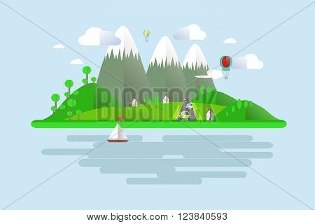 Islands, green hills, grey mountains with white peaks, blue skies, water, trees, balloons, boat sails, home, white clouds, road, cars, shade. Modern flat design, background, design element, vector