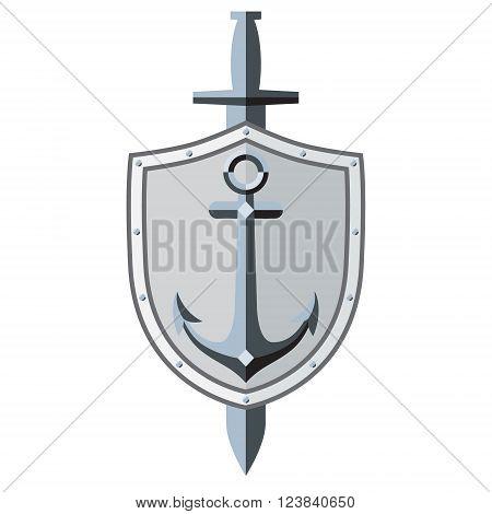 Anchor shield sword. Logo symbol tattoo. Sleek style. Vector Image. White background.