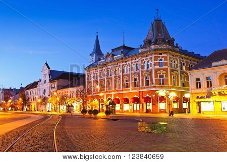 KOSICE, SLOVAKIA - MARCH 19, 2016: Neo-Renaissance Andrassy Palace in the main square of Kosice city in eastern Slovakia on March 19, 2016.