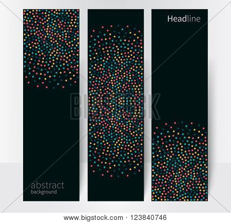 Geometric background Abstract banner header set. red, yellow & blue stars. minimalistic design creative concept stock-vector 10 EPS