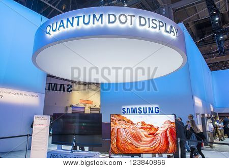 LAS VEGAS - JAN 08 : The Samsung booth at the CES show held in Las Vegas on January 08 2016 CES is the world's leading consumer-electronics show.