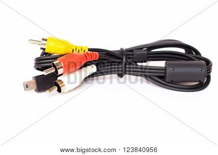 Cables (red, white, yellow) isolated on white background