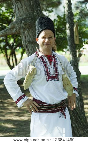 CHISINAU MOLDOVA- JULY 27 2014: Party concert in Moldovan national costume