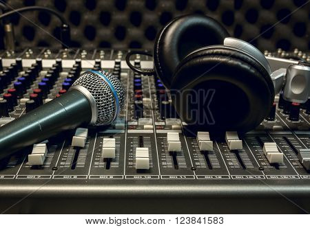 the microphone and headphone sound mixer background.