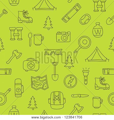 Seamless vector pattern of travel icons on a green background. Excellent background. Elements for design. Camping. Set to survive in the forest.