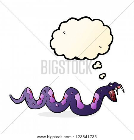 cartoon poisonous snake with thought bubble