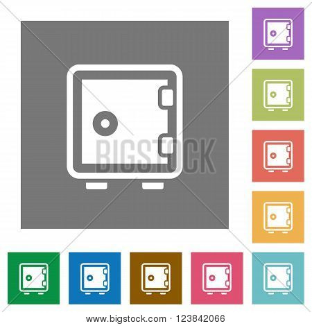 Strong box flat icon set on color square background.