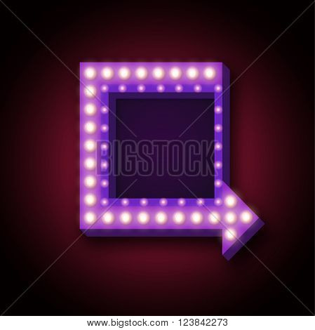 1950s retro neon sign with neon lights. 3d retro neon sign with neon arrow and place for text messages, promotions, discounts. Vector illustration of neon sign with neon arrow