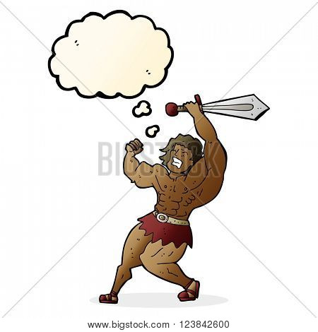 cartoon barbarian hero with thought bubble
