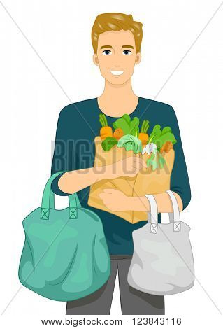 Illustration of a Man Carrying Grocery Bags in His Arms