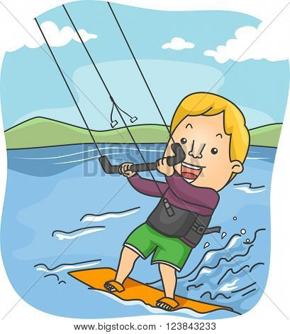 Illustration of a Male Kite Surfer Riding the Waves