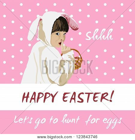 Funny happy easter holiday greeting vector card with girl in a bunny costume holding a basket going to egg hunt.