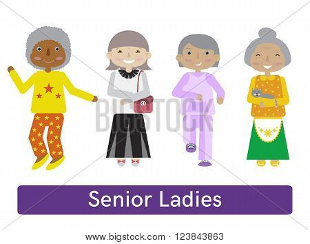 Set of senior citizens. Flat cartoon vector. Old women collection. Different activities.
