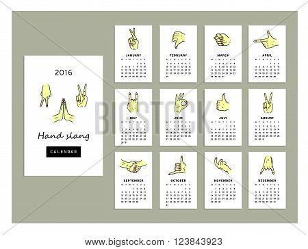Calendar hand slang of 2016. Vector illustration. Isolated