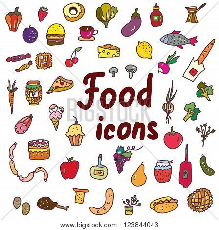 Food icons set - hand drawn design vector illustration