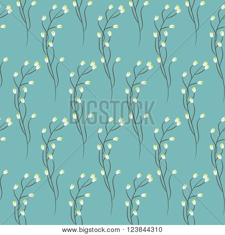 Spring wild blue flower field seamless pattern. Floral tender fine summer vector pattern on blue background. For fabric textile prints and apparel.